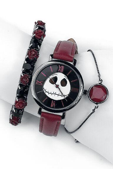 Uhren für Frauen - The Nightmare Before Christmas Jack Armbanduhr lila schwarz  - Onlineshop EMP