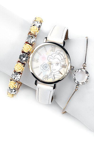 Uhren für Frauen - Die Schöne und das Biest Belle Armbanduhr weiß gold  - Onlineshop EMP