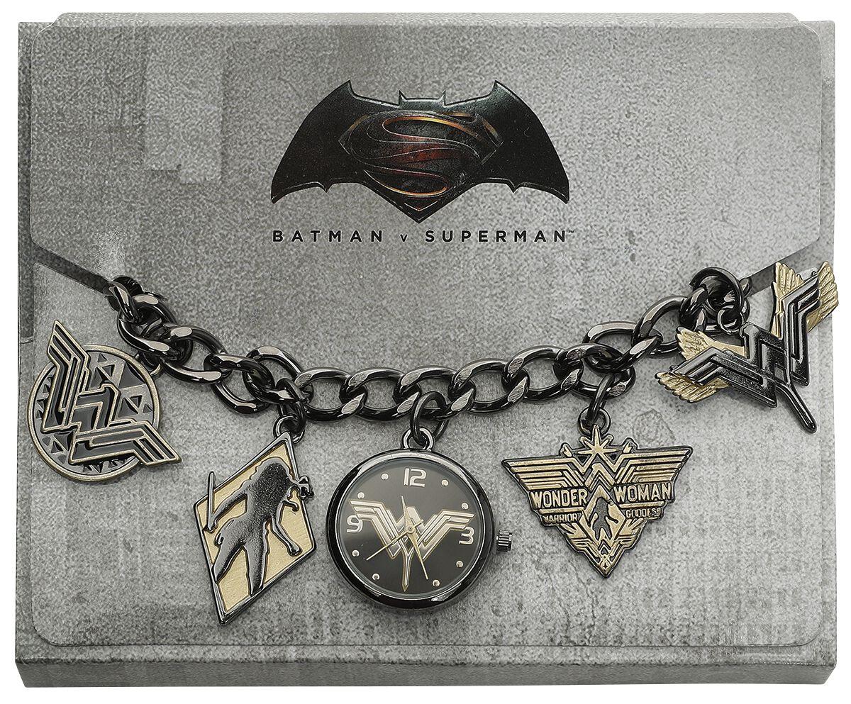 Uhren für Frauen - Wonder Woman Logo Charm Watch Armbanduhr schwarz gold  - Onlineshop EMP