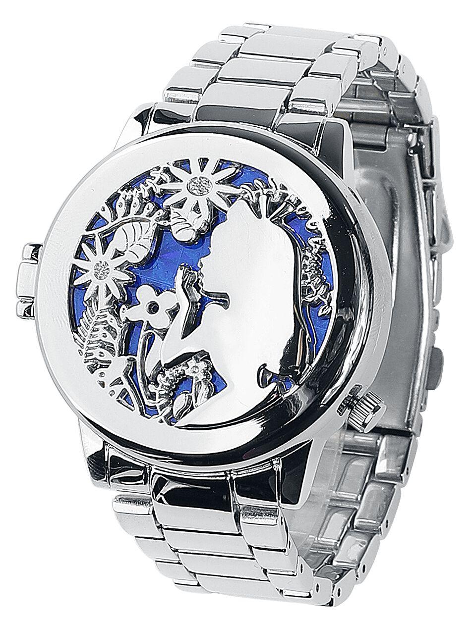 Uhren für Frauen - Alice im Wunderland Alice and Cheshire Cat Armbanduhr silberfarben  - Onlineshop EMP