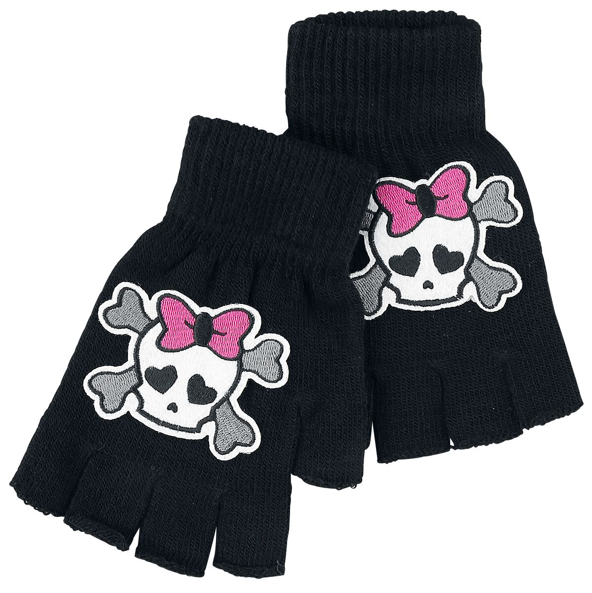 Basics - Szaliki i Rękawiczki - Rękawiczki bez palców Skully Rękawiczki bez palców czarny - 356909