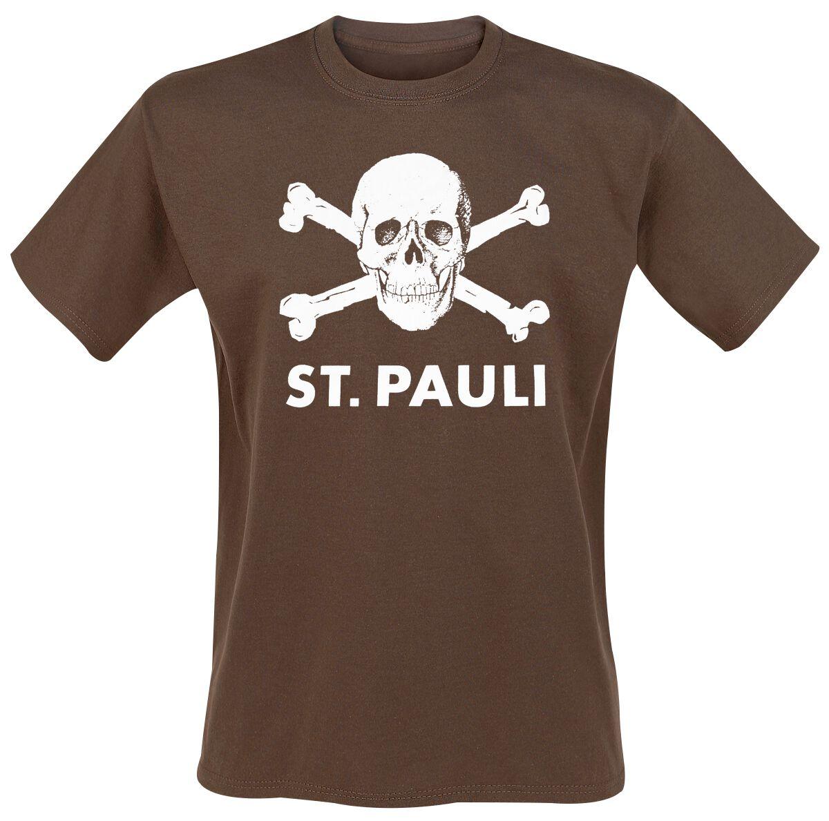 FC St. Pauli Totenkopf Braun T-Shirt braun