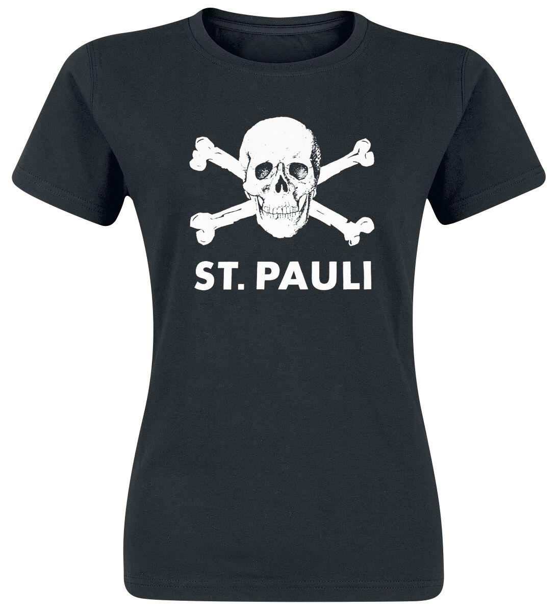 FC St. Pauli Totenkopf Girl-Shirt schwarz