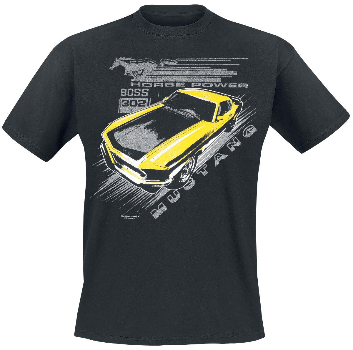 Merch dla Fanów - Koszulki - T-Shirt Ford Mustang Vintage Yellow Boss T-Shirt czarny - 357086
