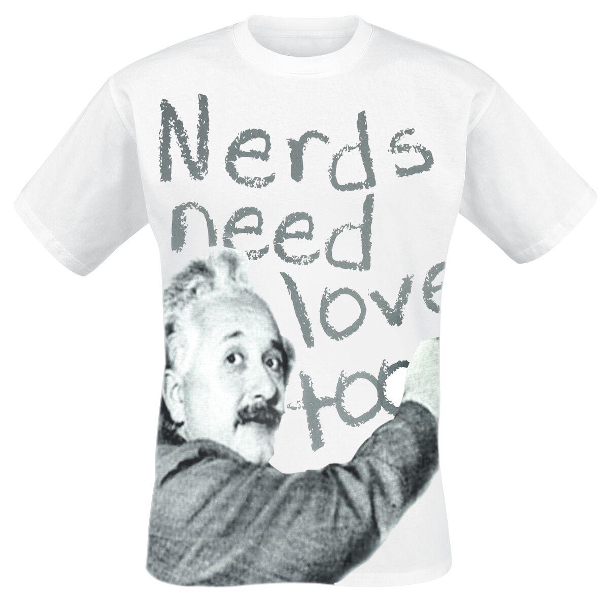 Merch dla Fanów - Koszulki - T-Shirt Albert Einstein Nerds Need Love Too T-Shirt biały - 357183