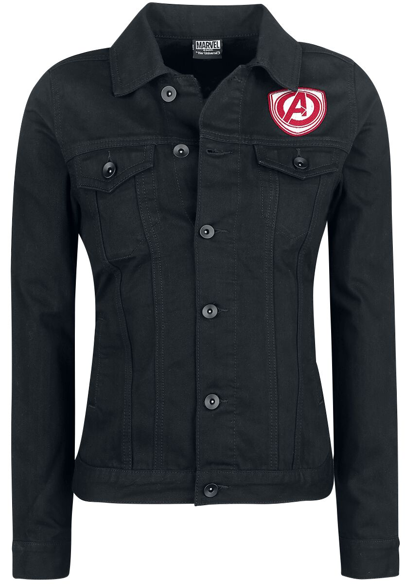 Merch dla Fanów - Kurtki - Kurtka jeansowa damska Avengers Her Universe - Logo Kurtka jeansowa damska czarny - 357286