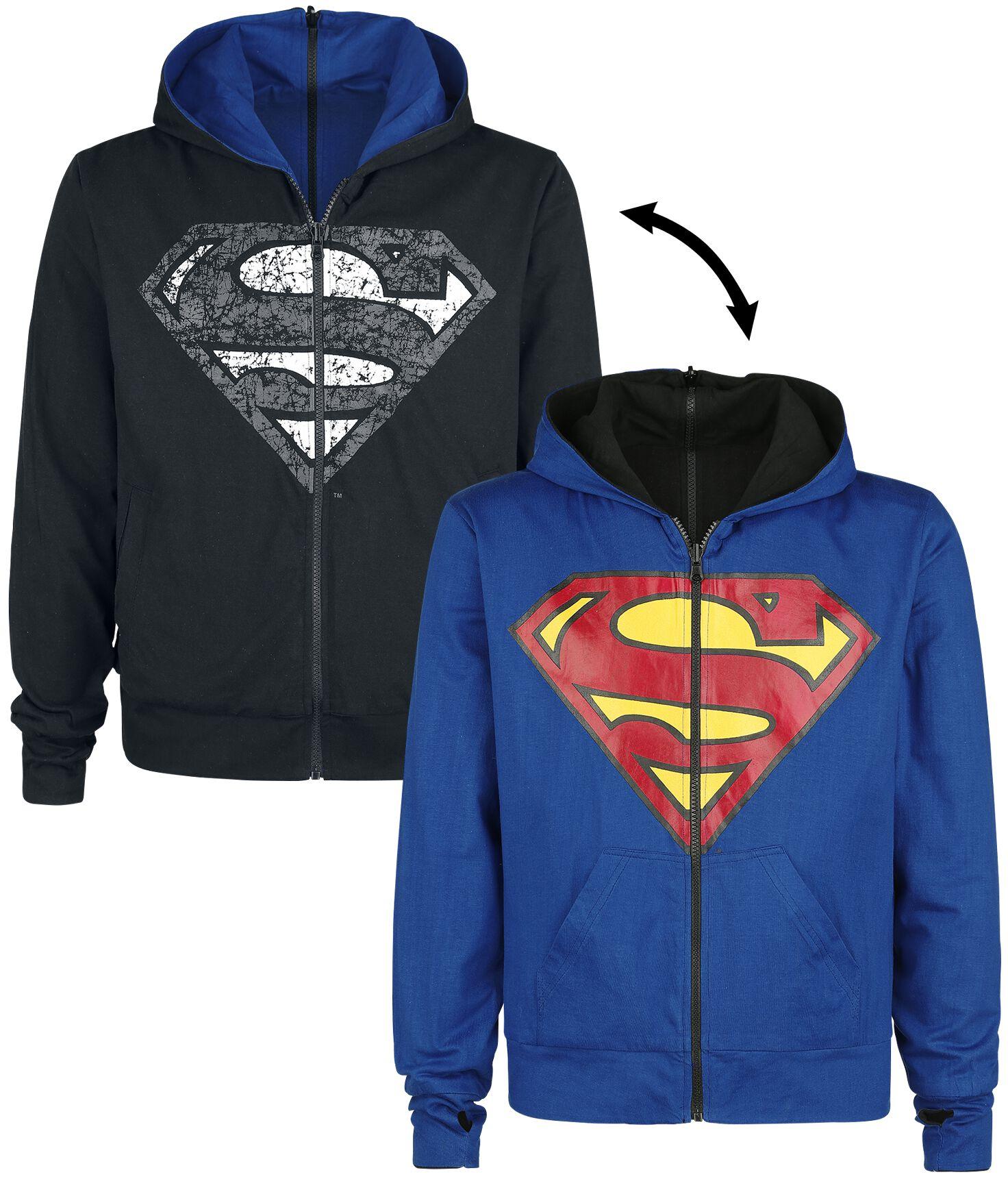 Merch dla Fanów - Bluzy z kapturem - Bluza z kapturem rozpinana Superman Shield Hood Bluza z kapturem rozpinana czarny/niebieski - 357569