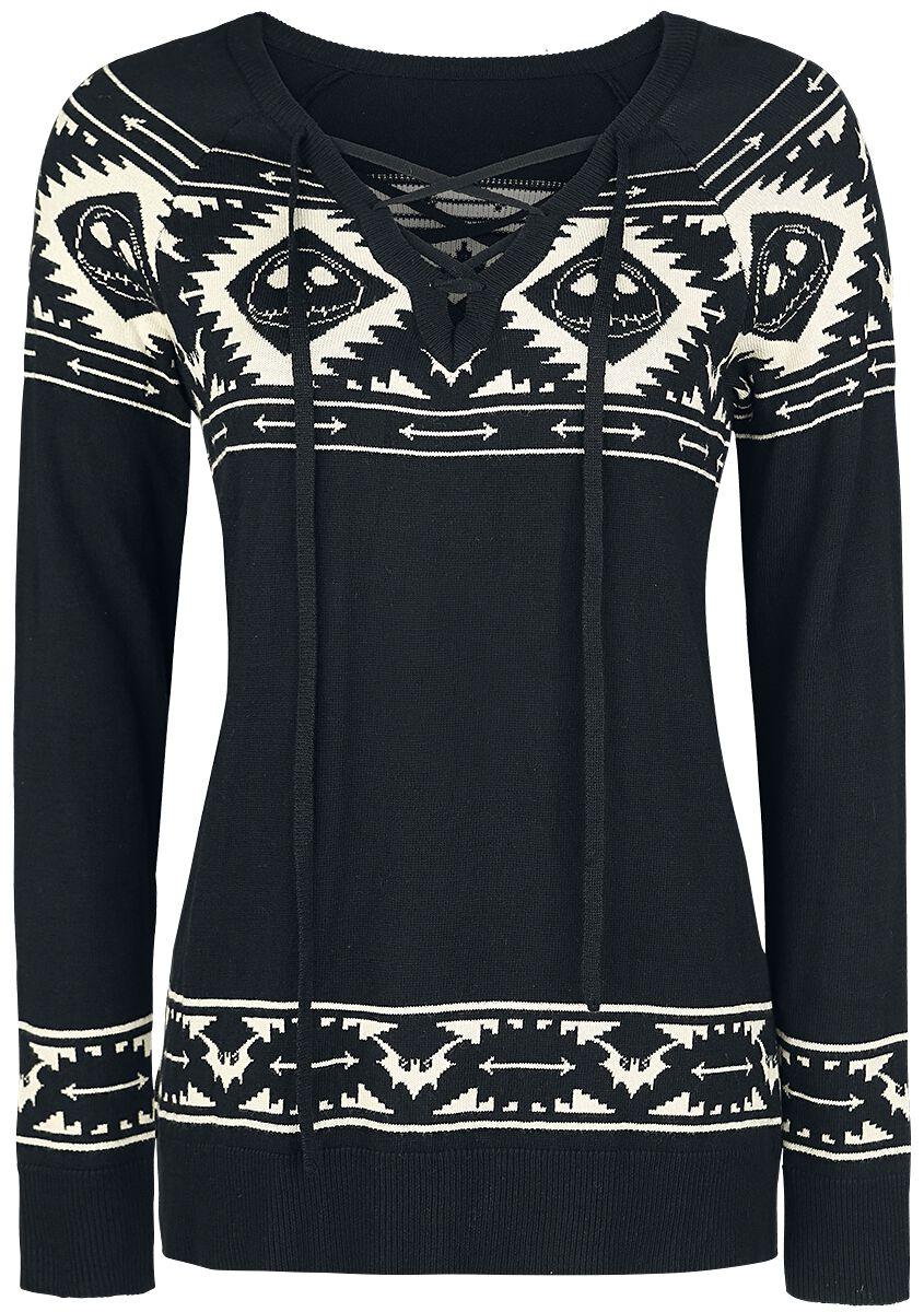 Image of   The Nightmare Before Christmas Jack Bats Intarsia Girlie sweatshirt sort-beige