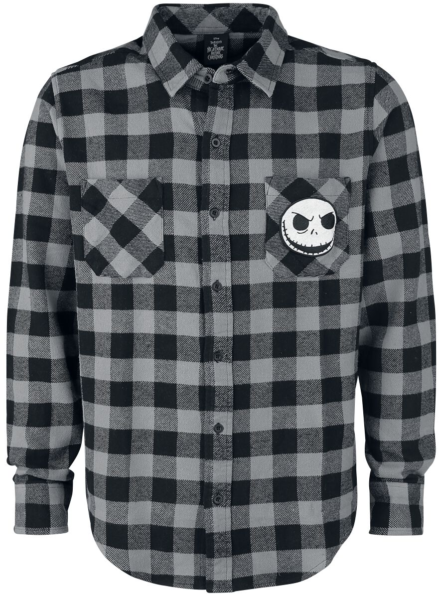 Image of   The Nightmare Before Christmas Jack Plaid Patch Skjorte grå-sort