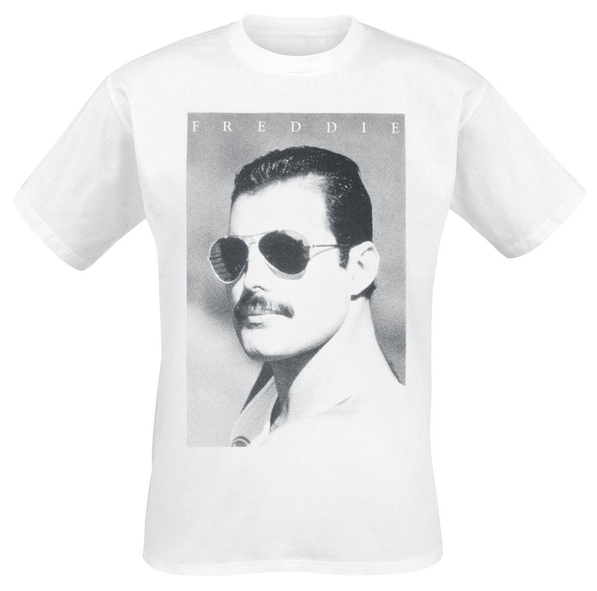 Zespoły - Koszulki - T-Shirt Queen Freddie Mercury - Sunglasses T-Shirt biały - 358095