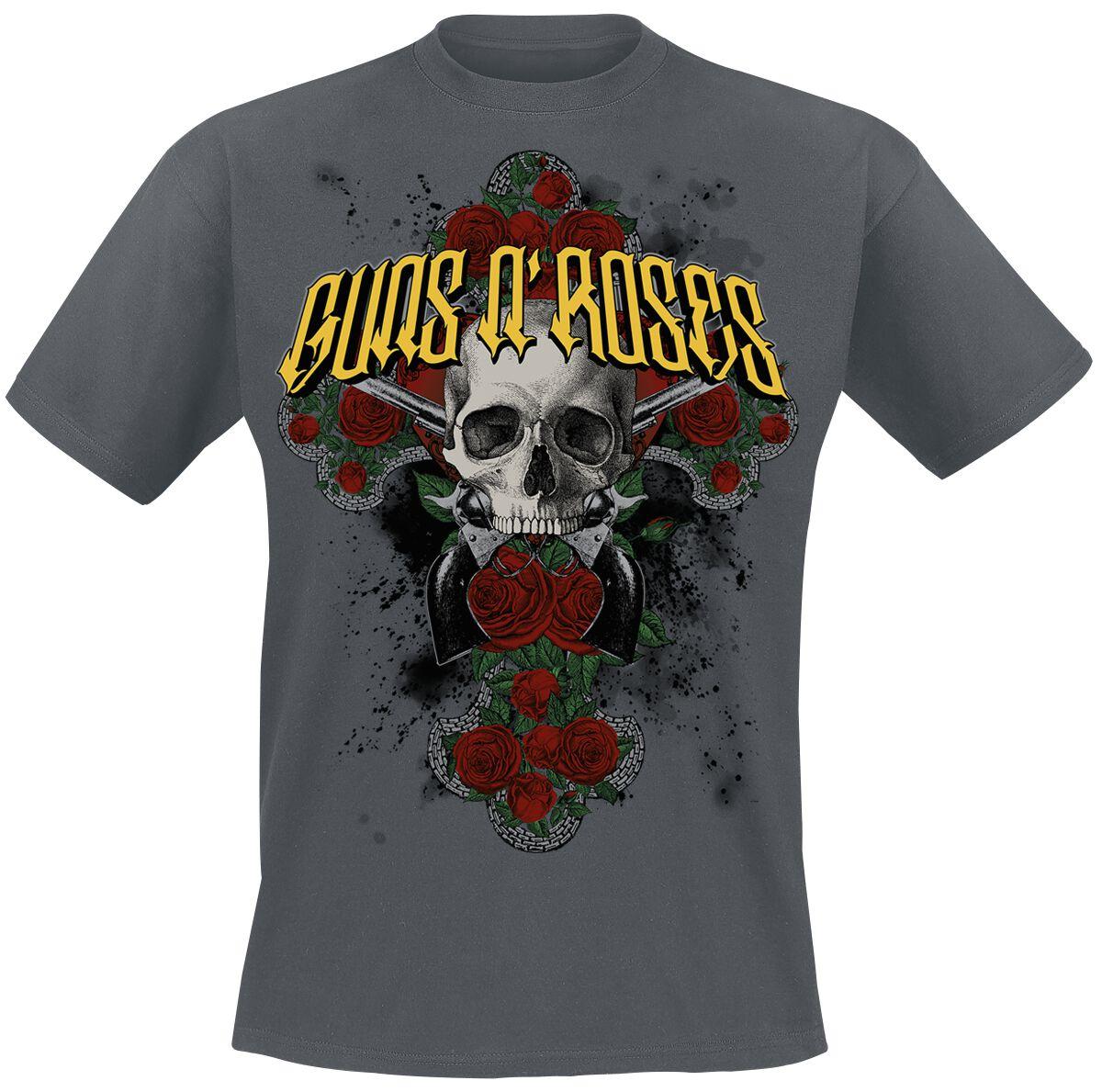 Image of   Guns N' Roses Rose Cross T-Shirt mørk grå