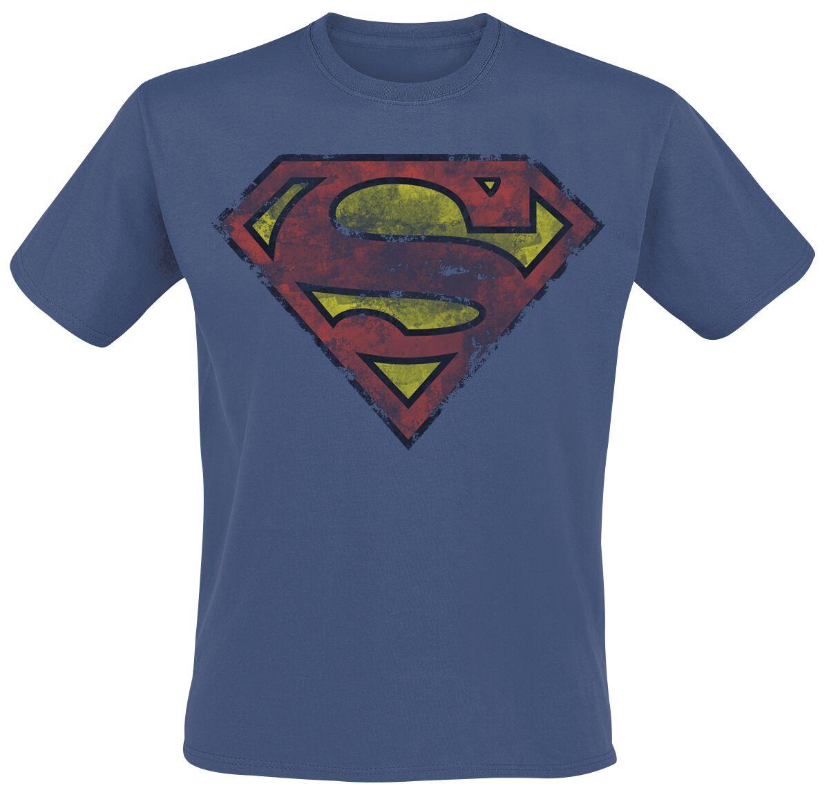 Merch dla Fanów - Koszulki - T-Shirt Superman Heavy Distressing Logo T-Shirt niebieski - 358174