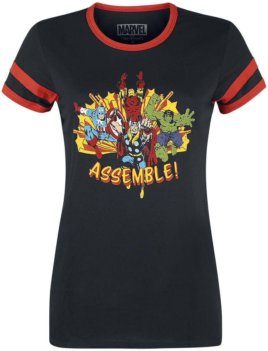 Merch dla Fanów - Koszulki - Koszulka damska Avengers Her Universe - Assemble Koszulka damska czarny/czerwony - 358245