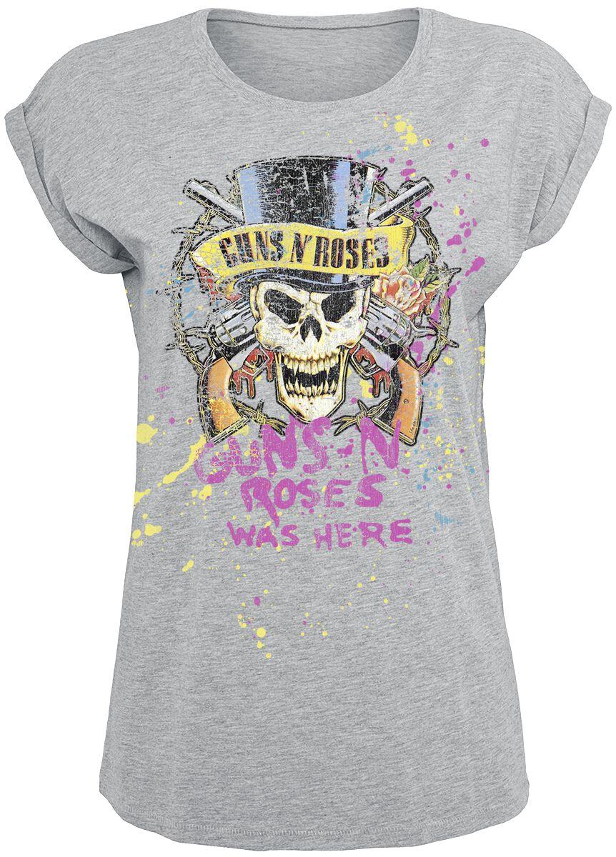 Image of   Guns N' Roses Top Hat Splatter Girlie trøje grålig