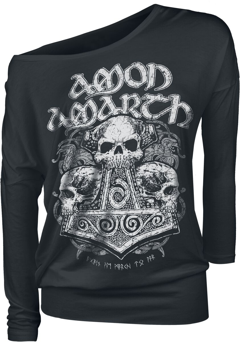Image of   Amon Amarth Skull Hammer Girlie langærmet sort
