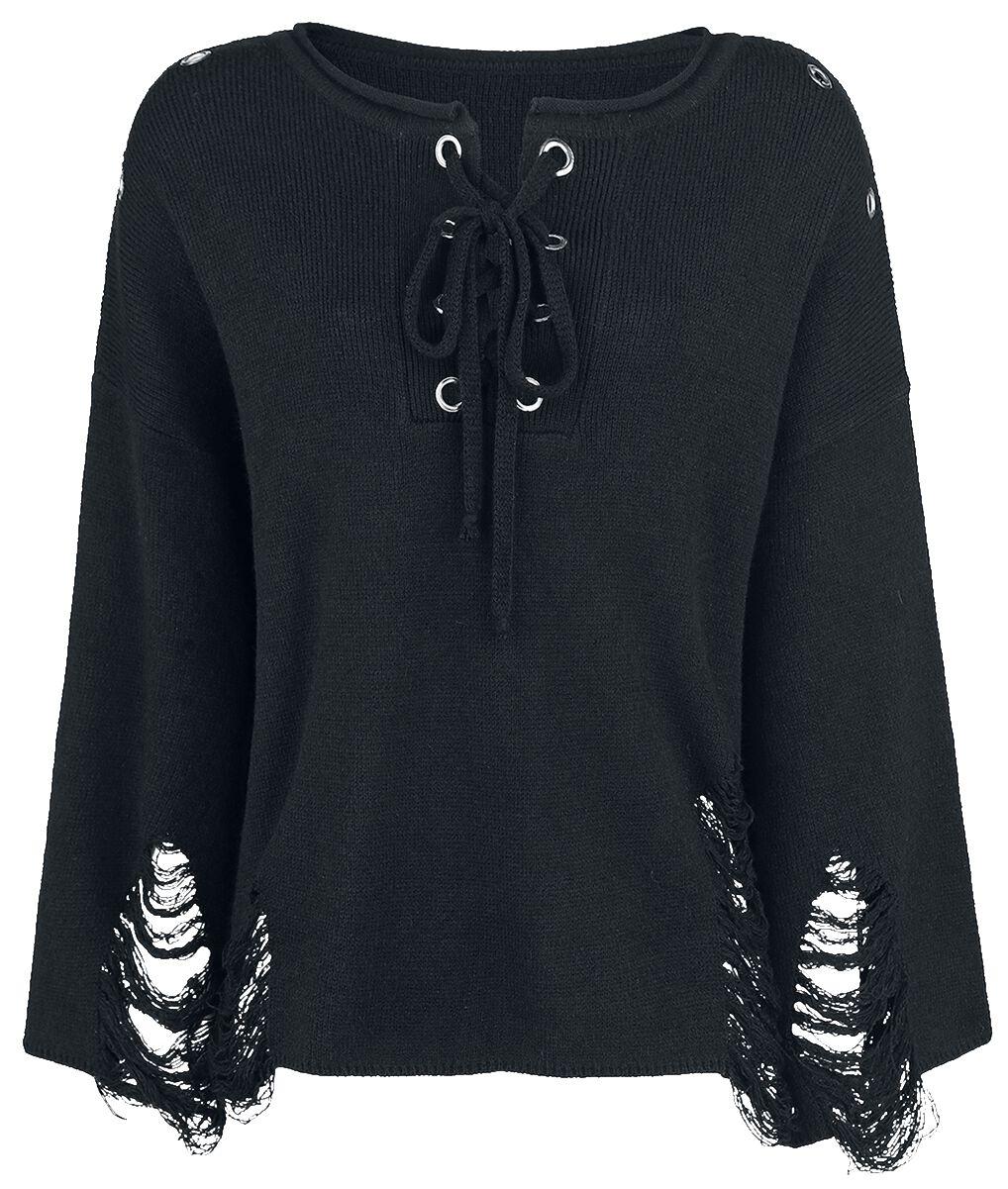 Marki - Bluzy - Sweter damski Jawbreaker Black Distresses Knit Sweter damski czarny - 358708