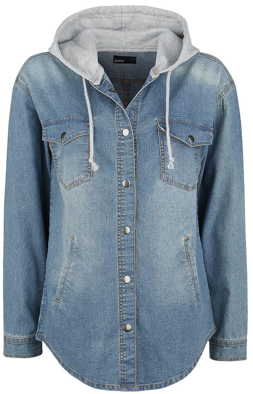 Forplay Oversize Jeans Hemd Bluzka damska niebieski
