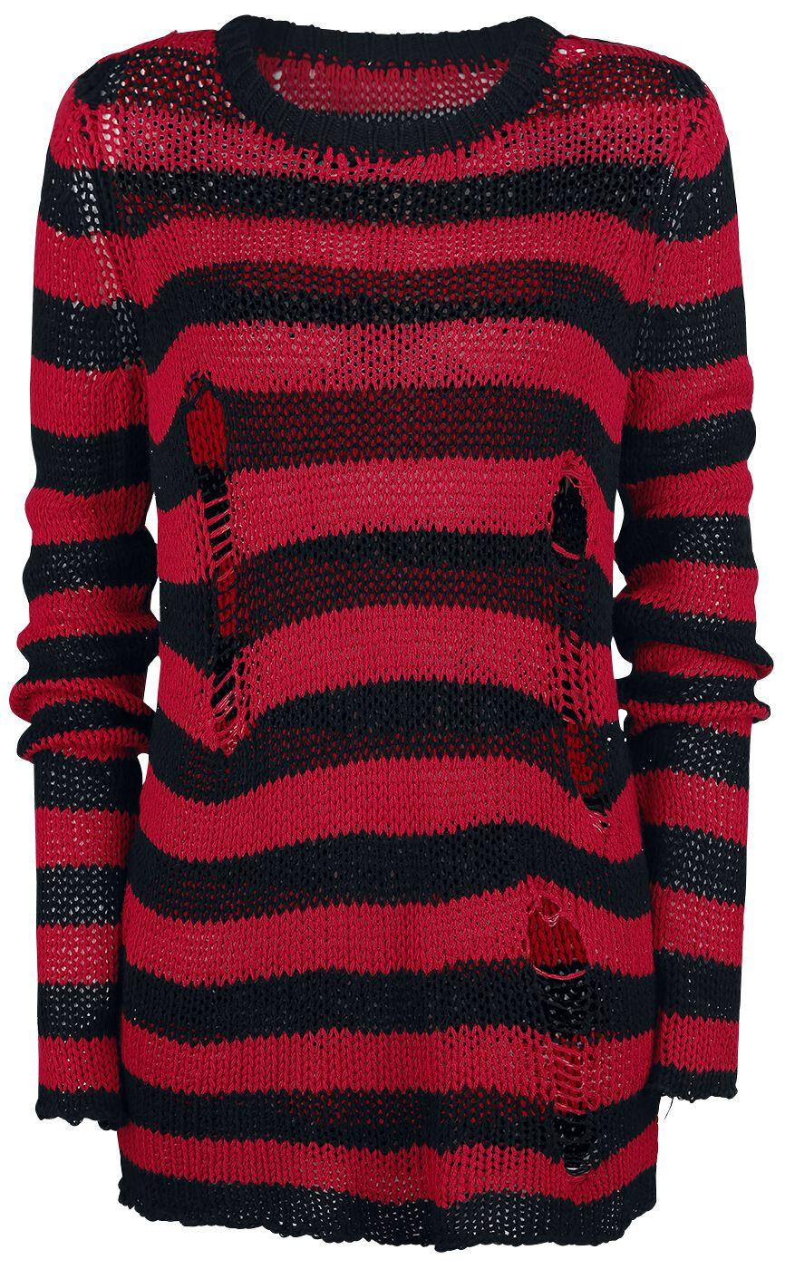 Image of   Forplay Fredy's Destroyed Stripe Sweater Strikketrøje sort