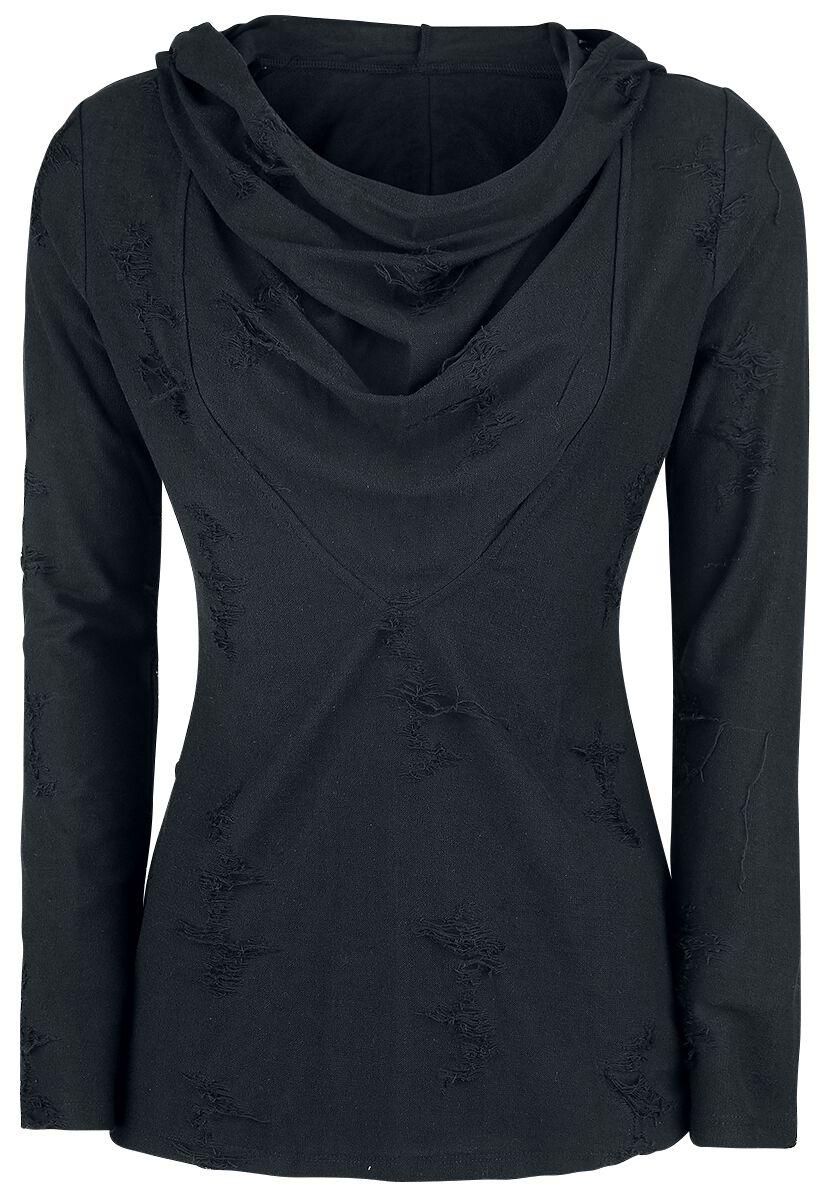 Image of   Forplay Hooded Destroyed Loose Sweater Girlie langærmet hættetrøje sort
