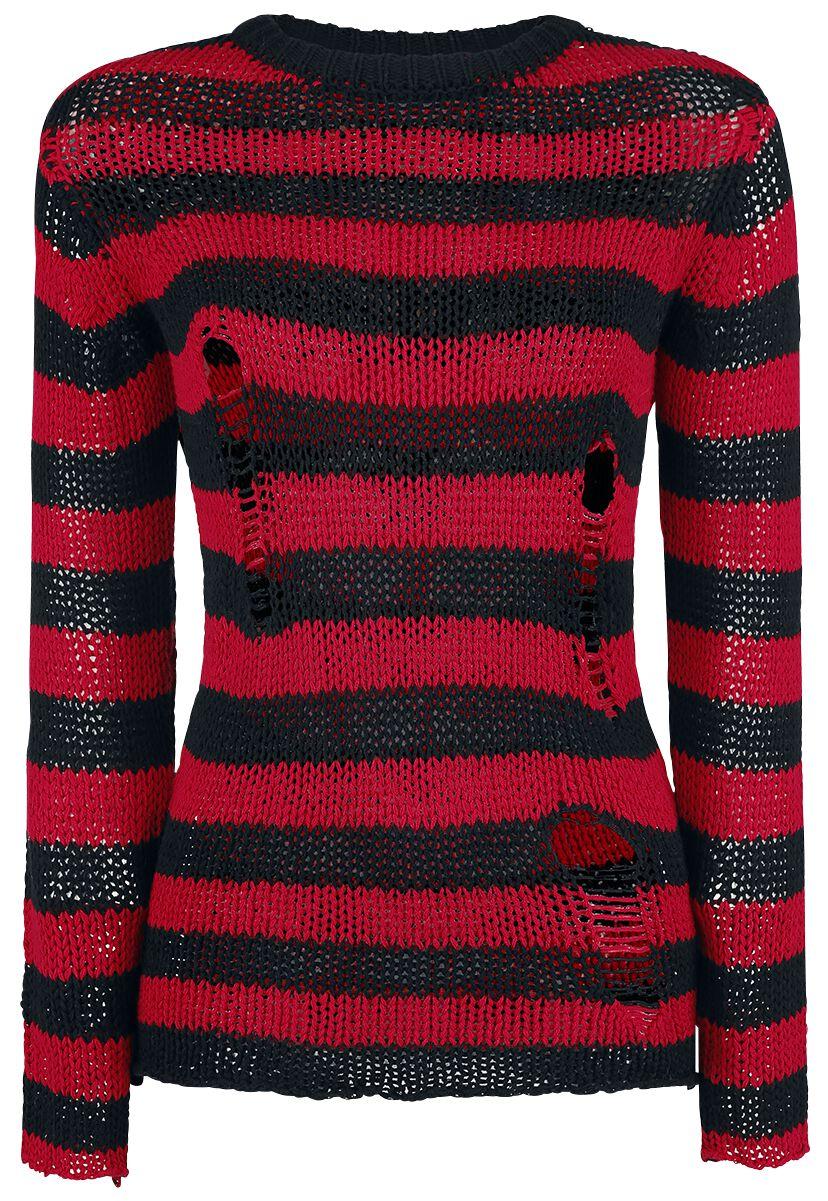 Image of   Forplay Fredy's Destroyed Stripe Sweater Girlie sweatshirt sort