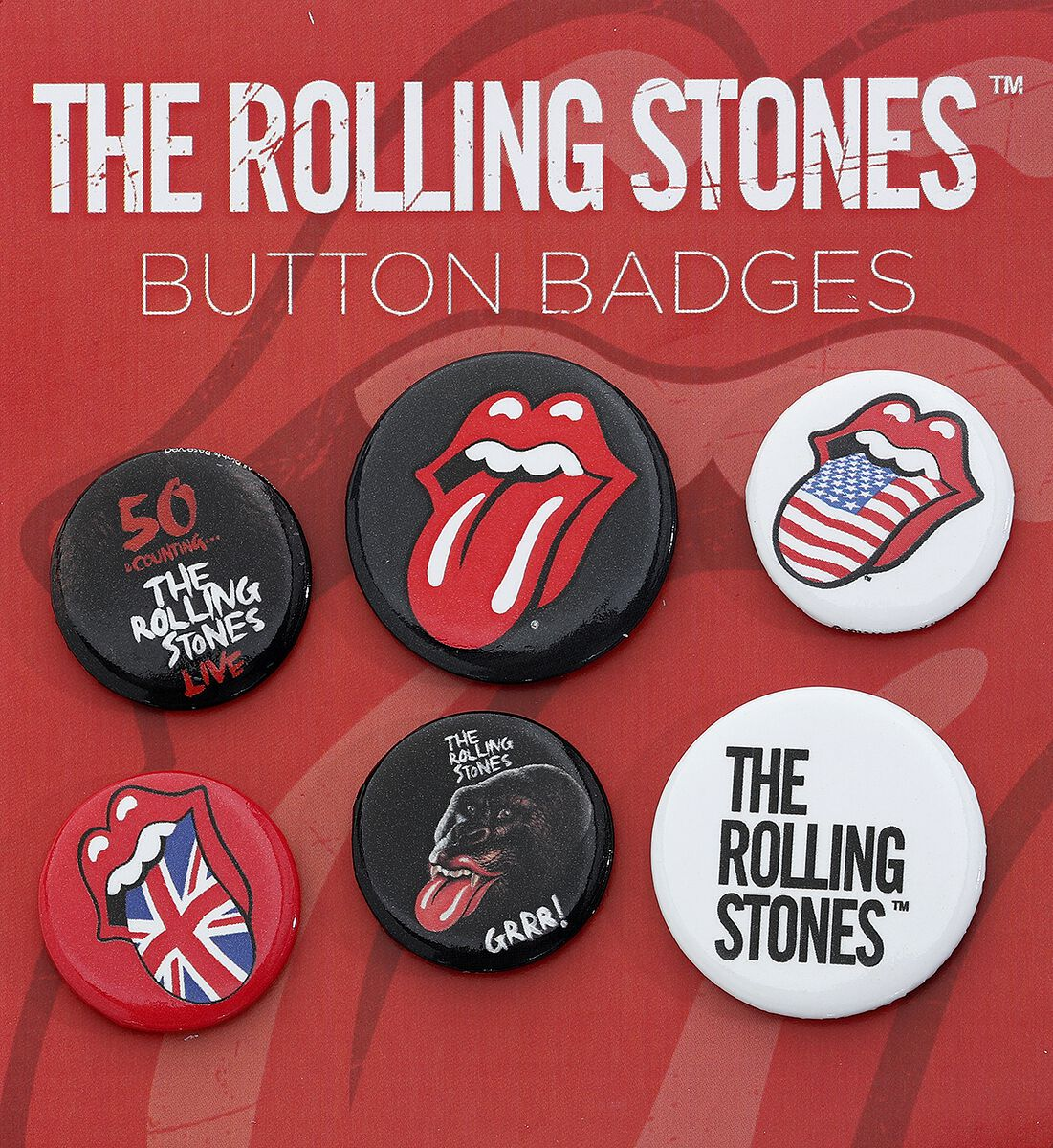 Image of   The Rolling Stones Lips Badgepakke multifarvet
