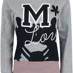 Mickey & Minnie Mouse Love Sweat-shirt Femme gris chiné/rose chiné