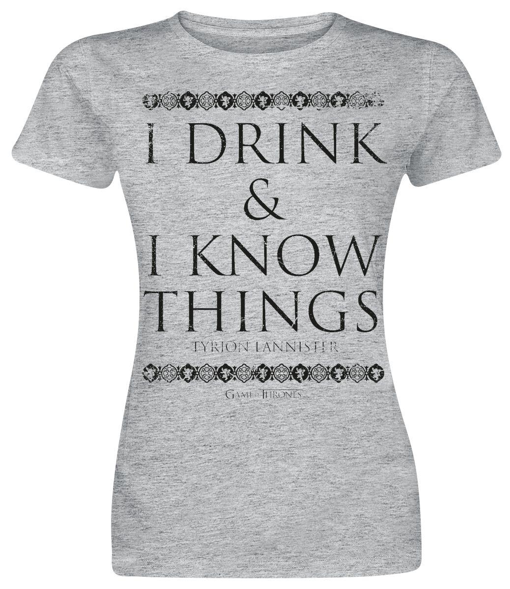 Image of   Game Of Thrones I Drink And I Know Things Girlie trøje grålig