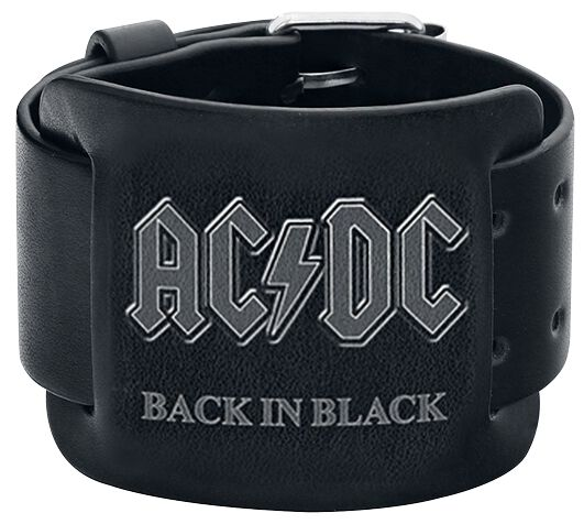 Image of   AC/DC Back In Black Læderarmbånd sort