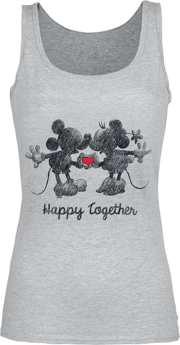 Image of   Mickey & Minnie Mouse Mickey & Minnie Mouse - Happy Together Girlie top grålig