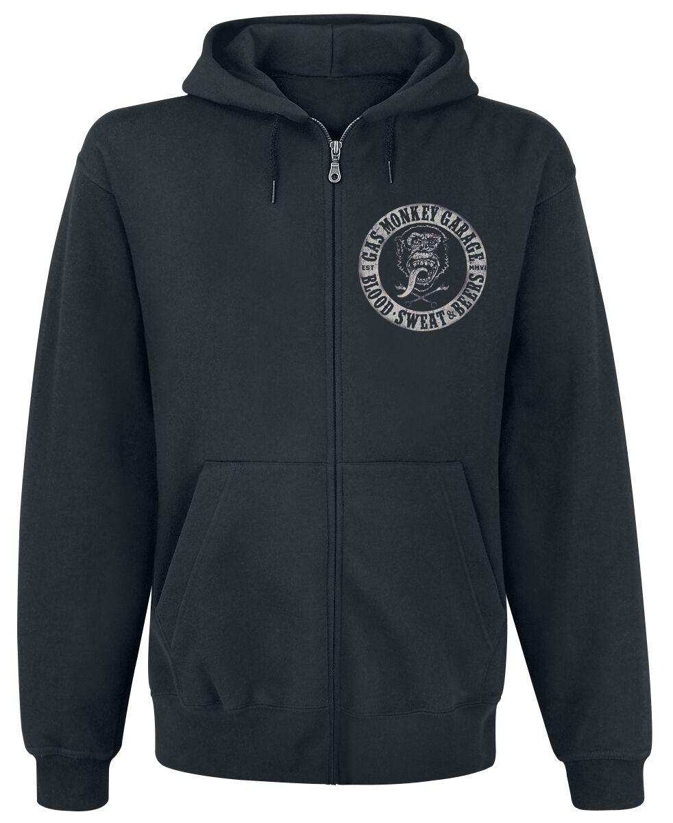 Merch dla Fanów - Bluzy z kapturem - Bluza z kapturem rozpinana Gas Monkey Garage Logo Bluza z kapturem rozpinana czarny - 359746