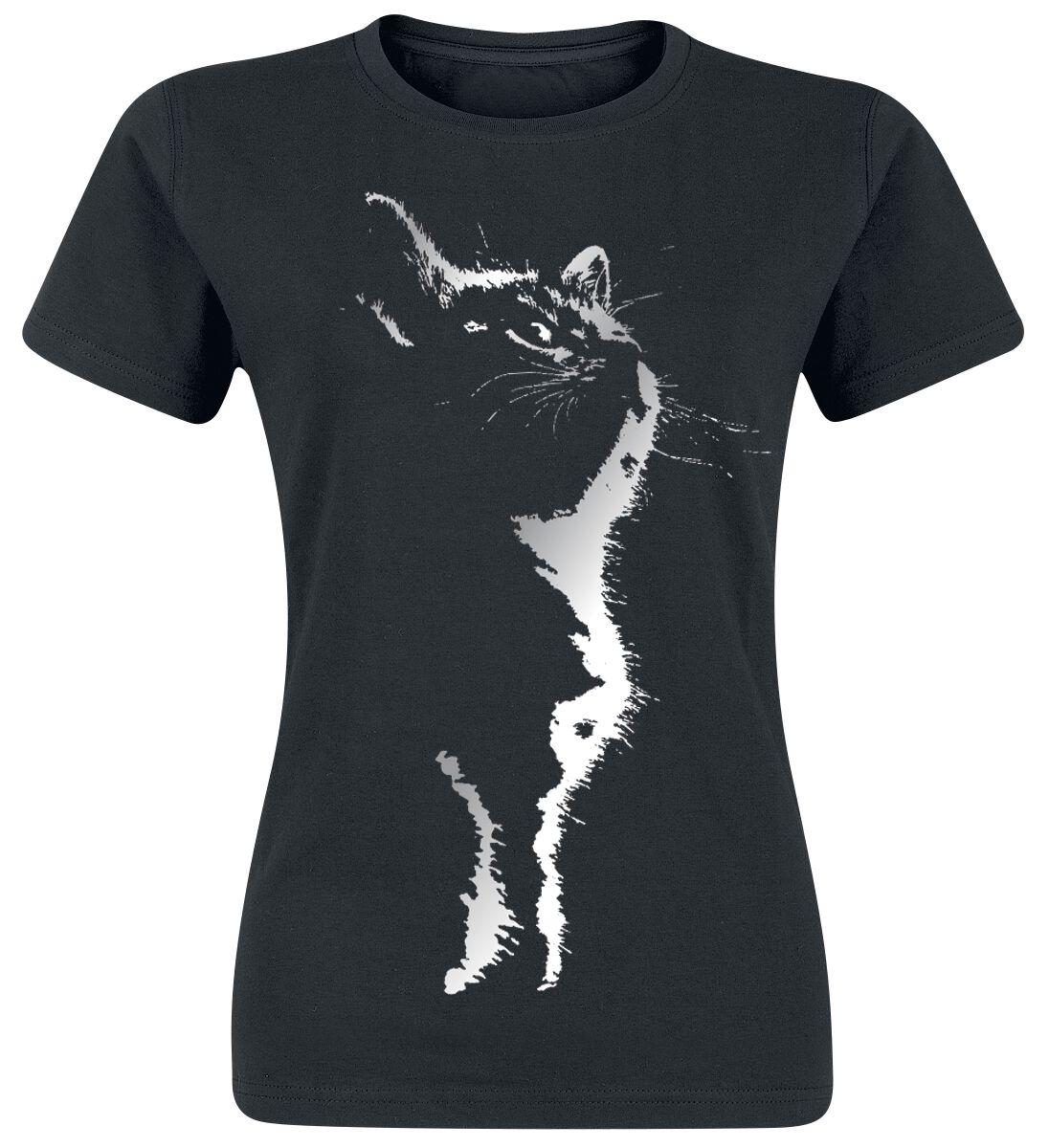 Fun Shirts - Koszulki - Koszulka damska Cat Silhouette Koszulka damska czarny - 359854