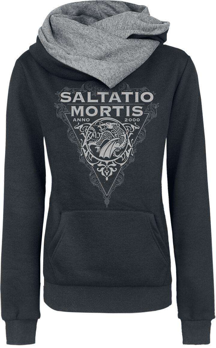 Zespoły - Bluzy z kapturem - Bluza z kapturem damska Saltatio Mortis Dragon Triangle Bluza z kapturem damska czarny/odcienie szarego - 359974
