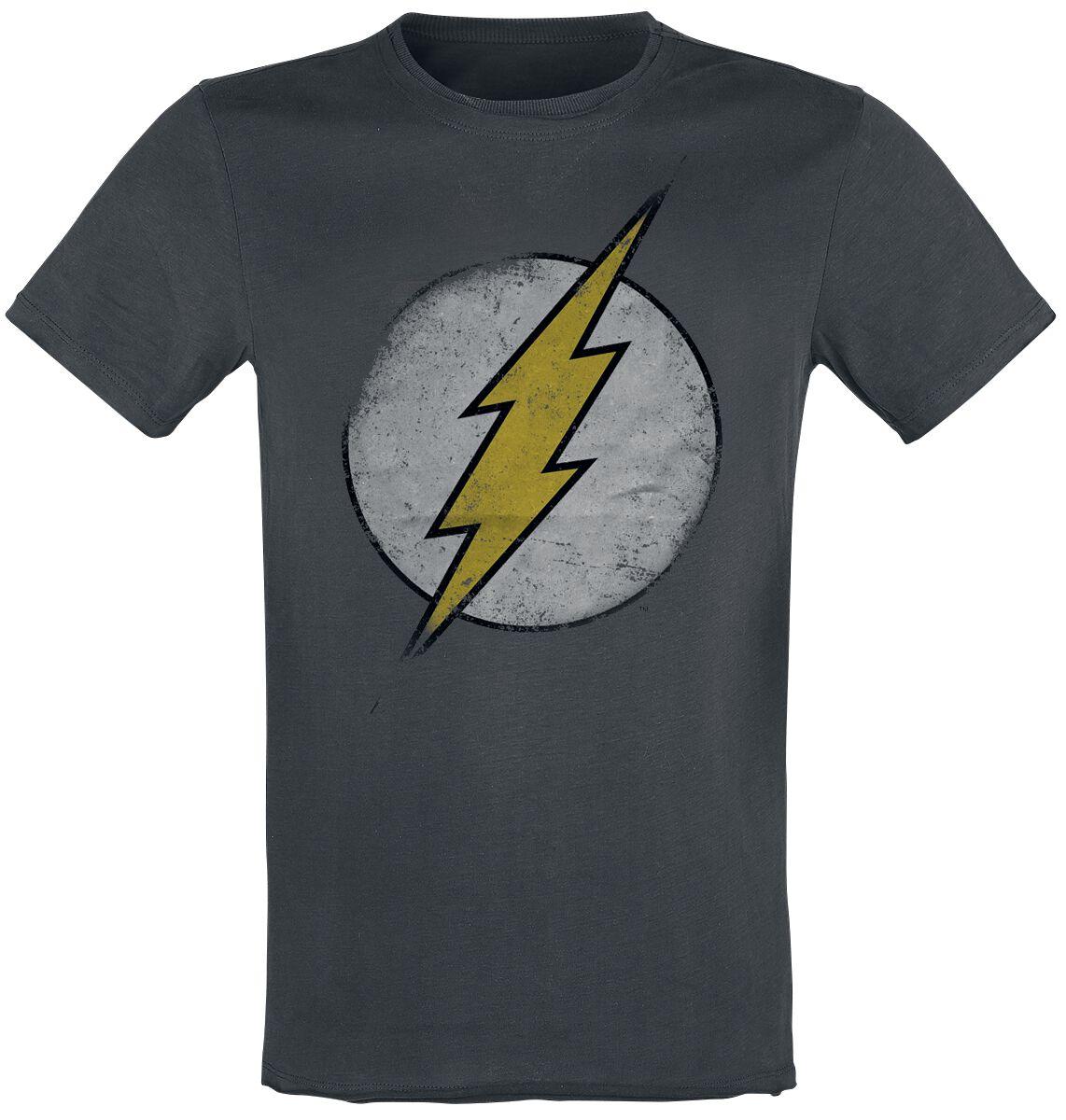 Merch dla Fanów - Koszulki - T-Shirt The Flash Vintage Logo T-Shirt ciemnoszary - 360013