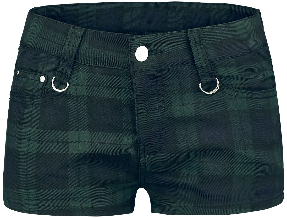 Image of   Banned Tartan Shorts Girlie shorts sort-grøn