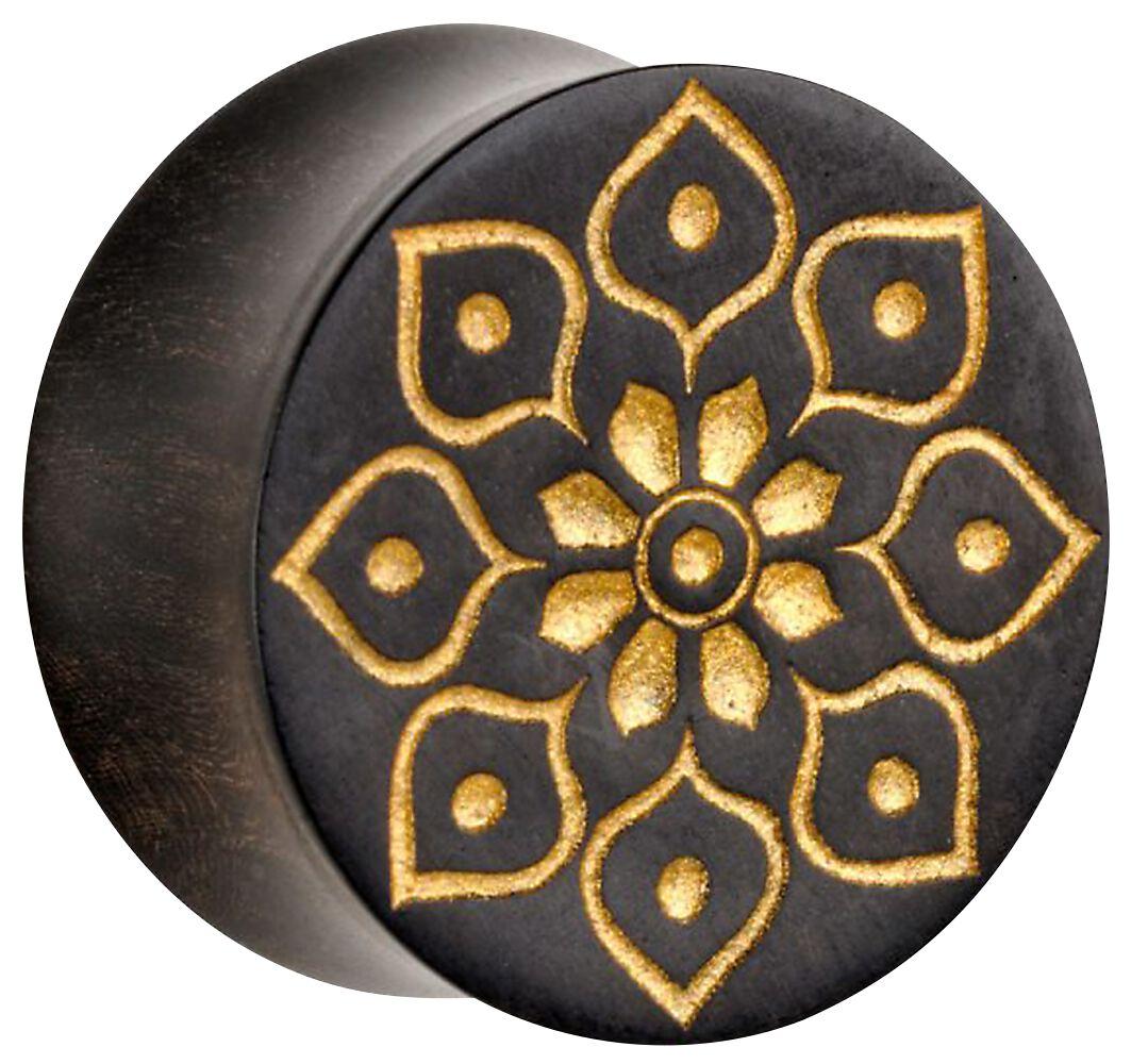 Image of   Wildcat Golden Florescence on Black Wood Plugs sort-guld