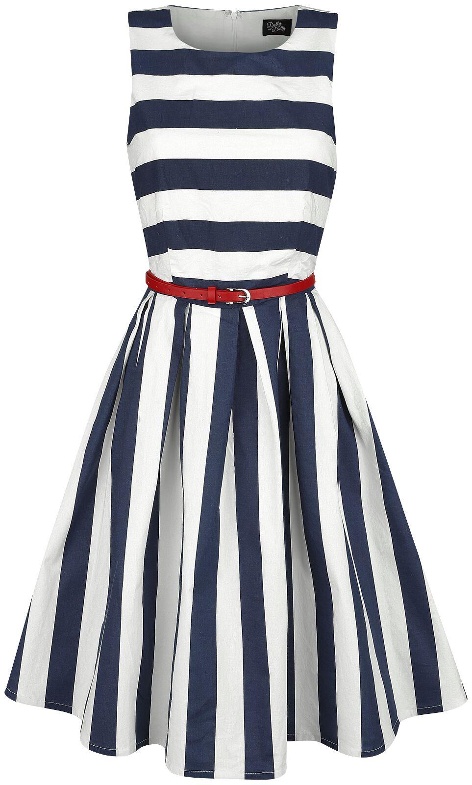 Marki - Sukienki - Sukienka Dolly and Dotty Dark Blue Stripe Dress Sukienka niebieski/biały - 360763