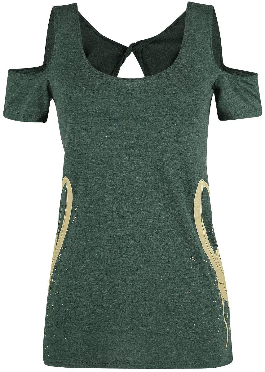 Image of   Thor Loki - Doppelte Helme Girlie trøje blandet mørkegrøn