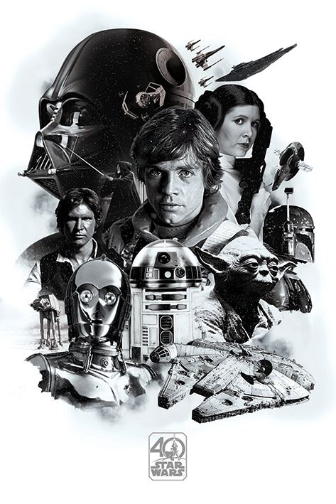 Image of   Star Wars 40th Anniversary - Montage Plakat sort-hvid