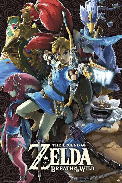 Image of   The Legend Of Zelda Breath Of The Wild - Divine Beasts Plakat multifarvet