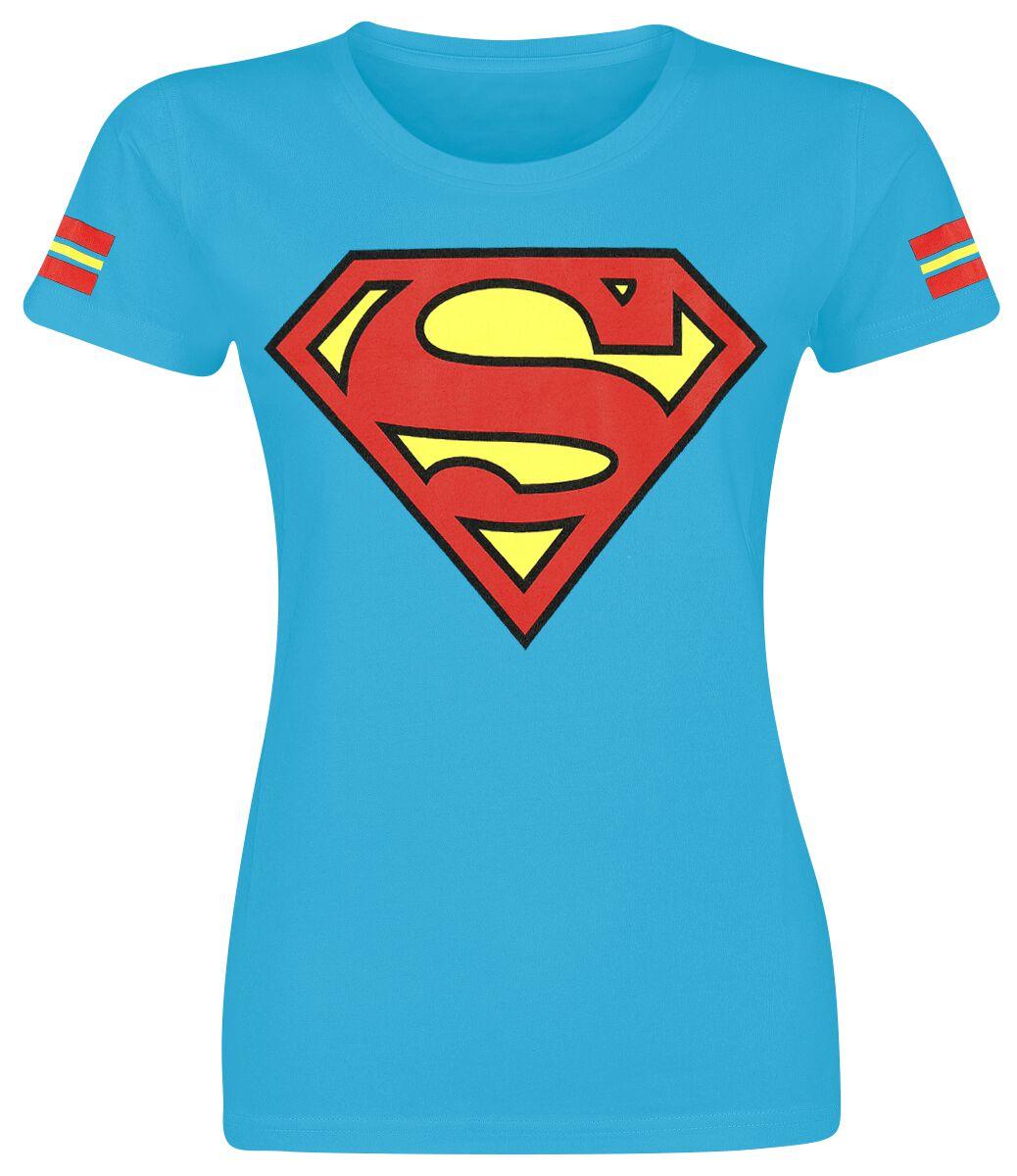 Merch dla Fanów - Koszulki - Koszulka damska Superman Logo Koszulka damska niebieski - 361145