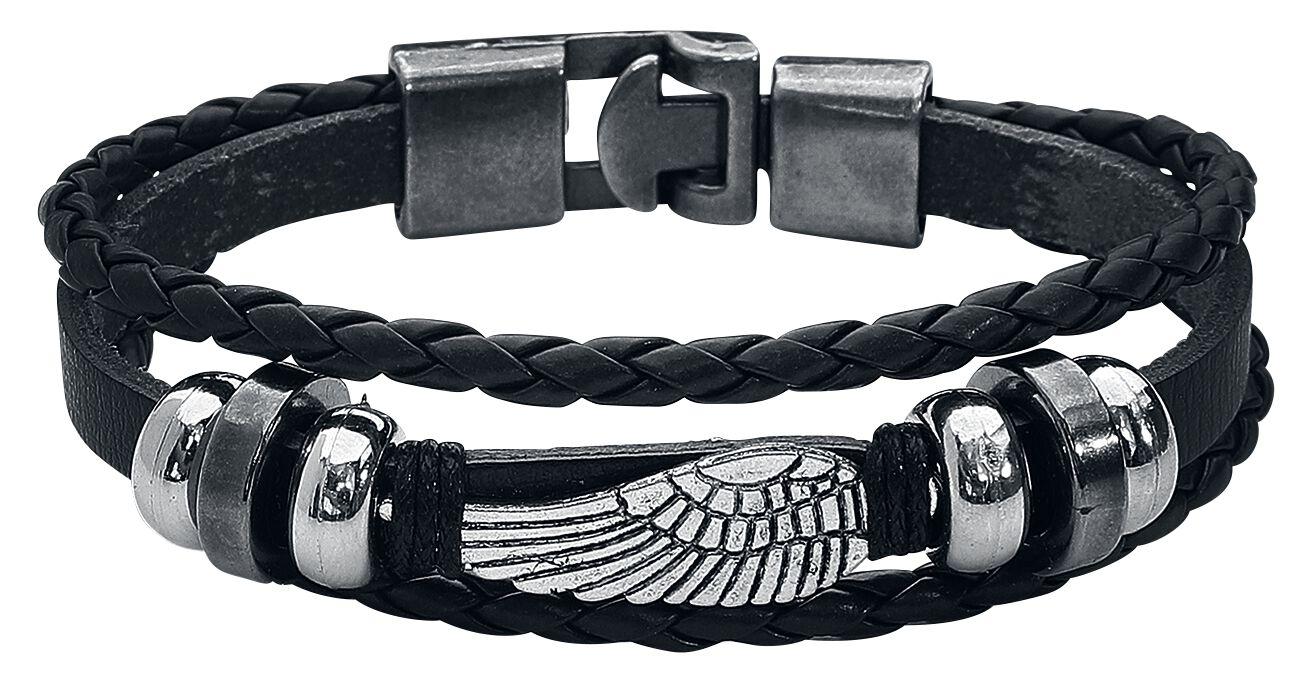 Basics - Bransoletki - Bransoletka skórzana Flügel Bransoletka skórzana czarny - 361272