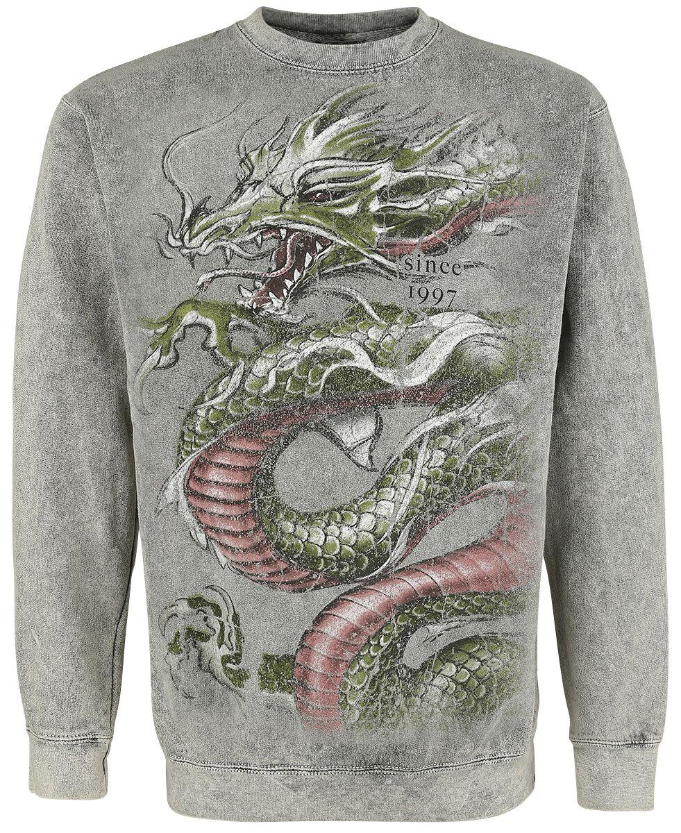 Marki - Bluzy - Bluza Alchemy England Crounching Dragon Bluza szary - 361316