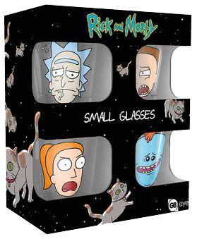 Image of   Rick And Morty Faces Shotglas, sæt gennemsigtig