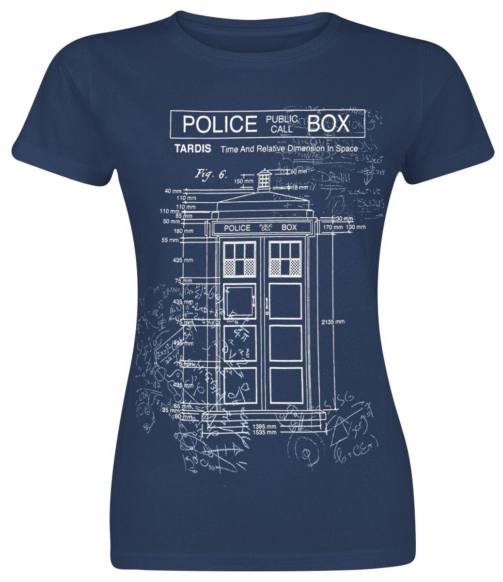 Doctor Who Tardis Blueprint Koszulka damska granatowy