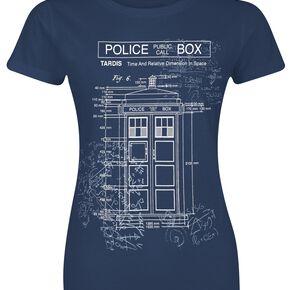 Doctor Who Blueprint Tardis T-shirt Femme marine