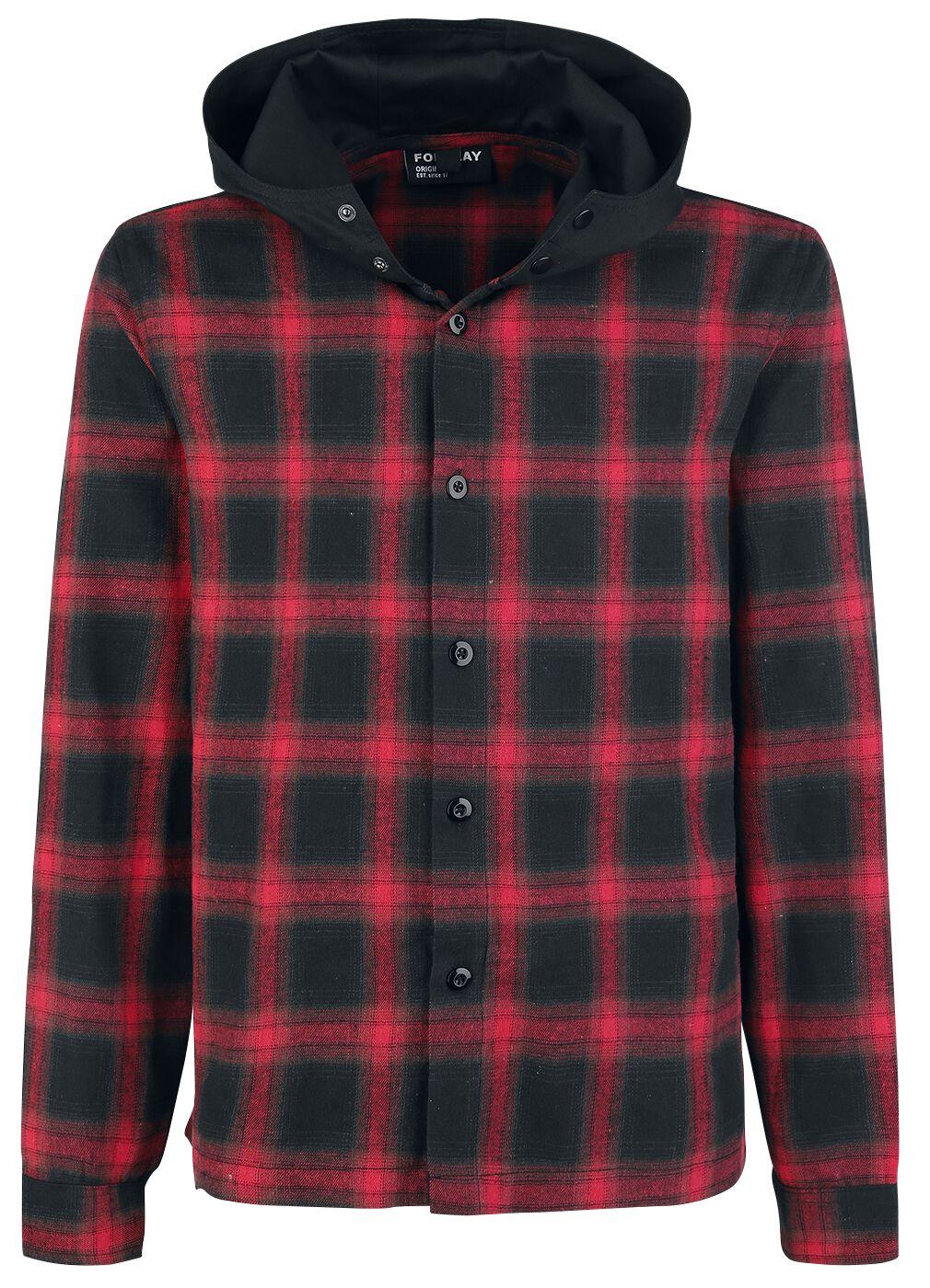 Image of   Forplay Hooded Checked Flanel Shirt Skjorte sort-rød