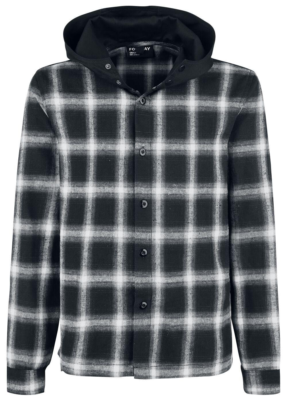 Image of   Forplay Hooded Checked Flanel Shirt Skjorte sort-hvid