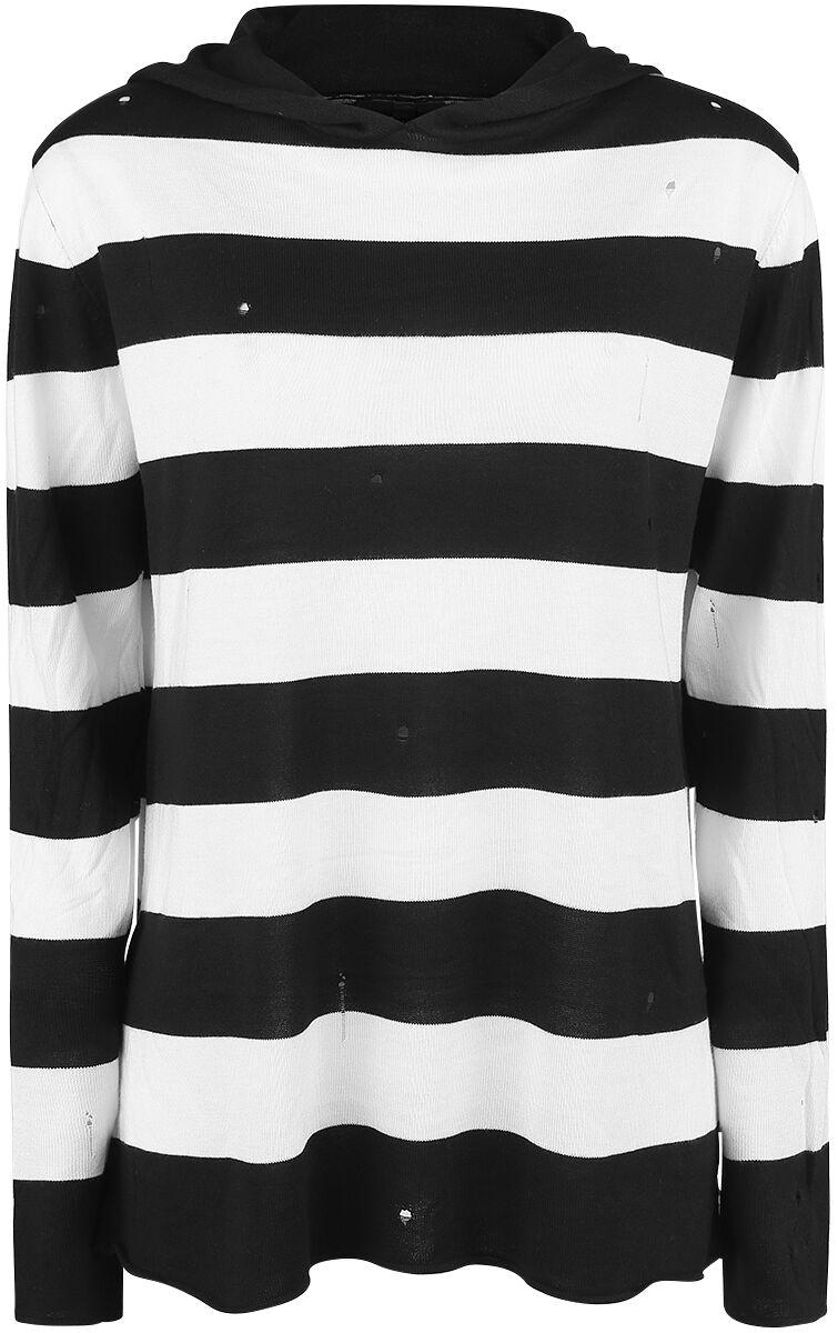 Image of   Forplay Knitted Striped Hoodie Hættetrøje sort-hvid