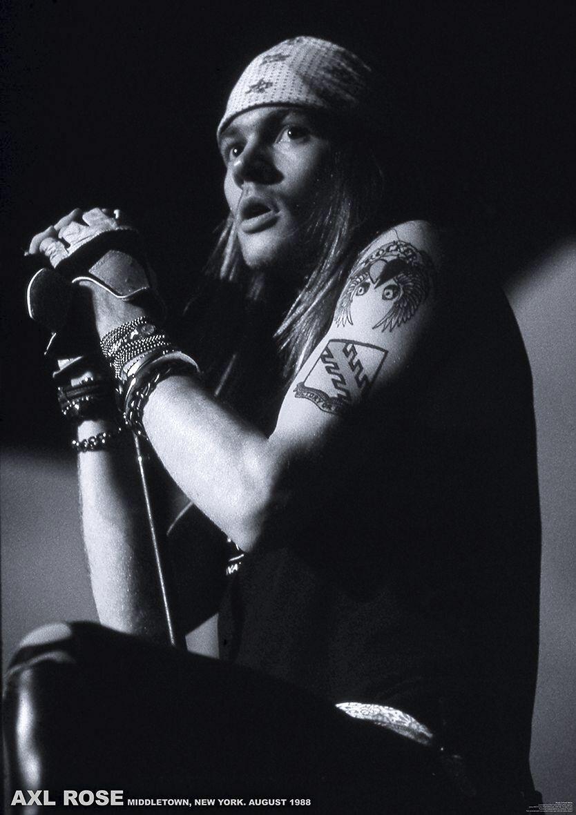 Image of   Guns N' Roses Axl Rose - New York 1988 Plakat sort-hvid