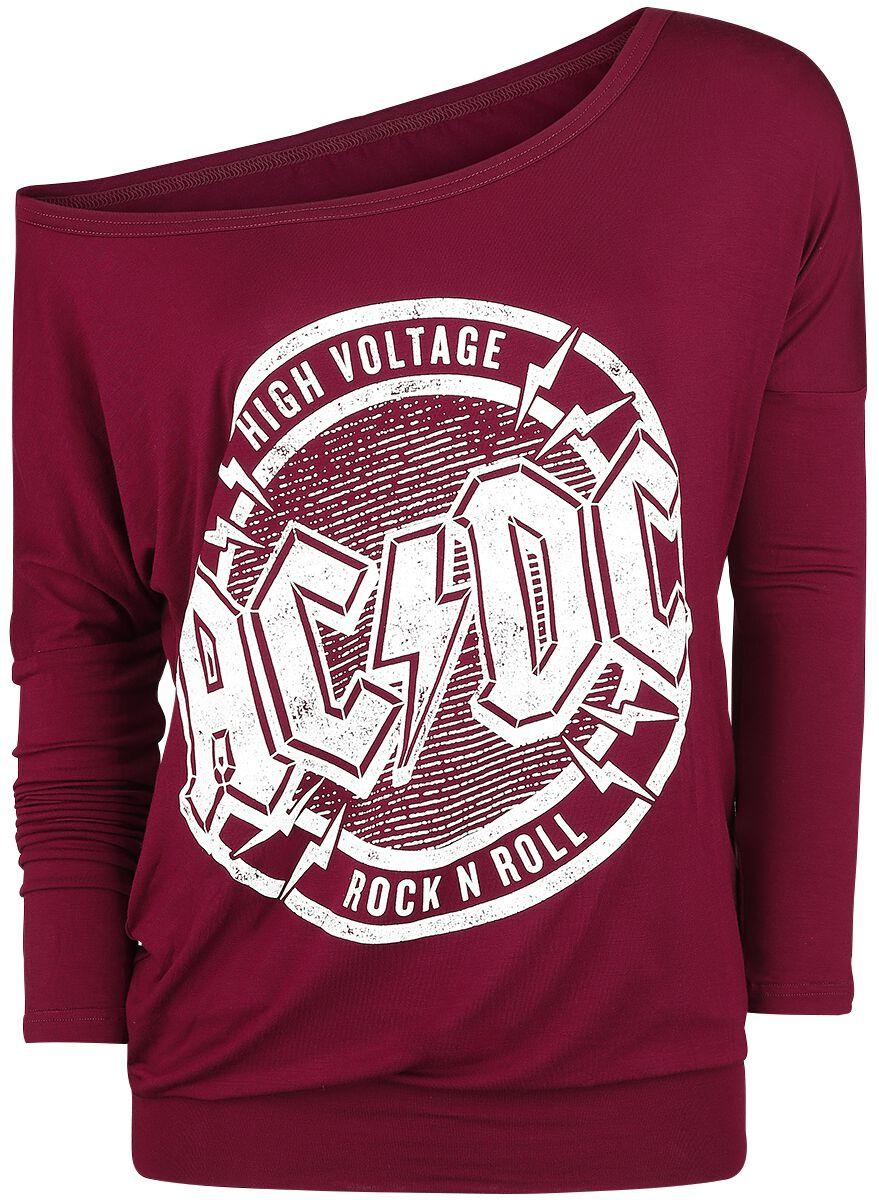 Image of   AC/DC High Voltage - Rock 'N' Roll Girlie langærmet bordeaux